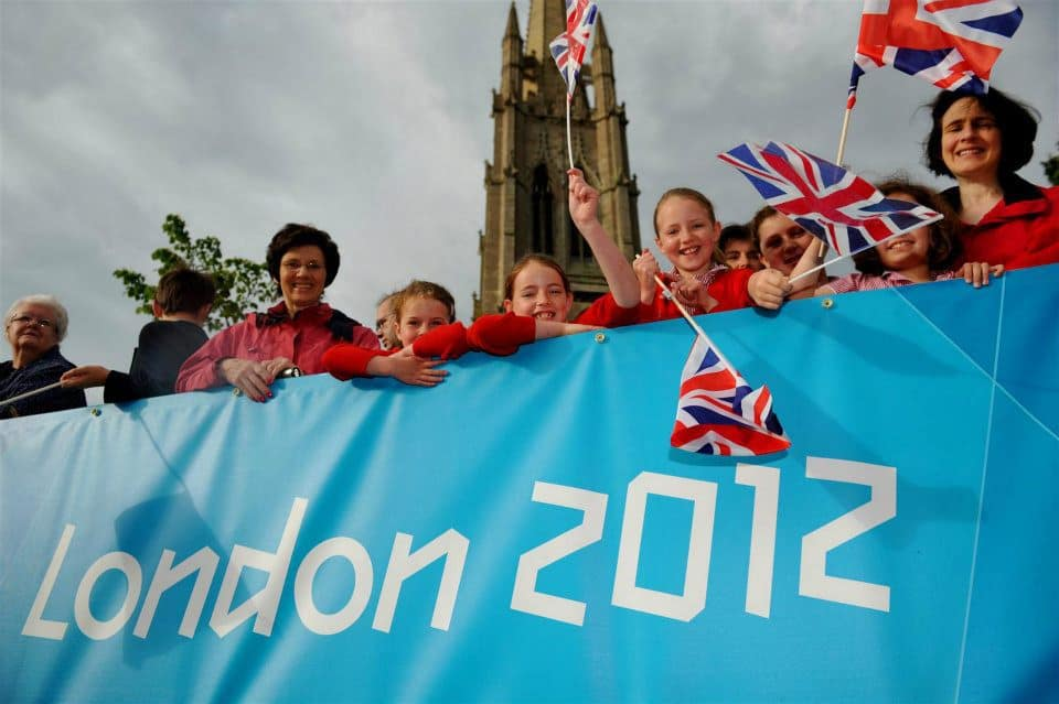Children supporting the Torch Relay in Louth 2012